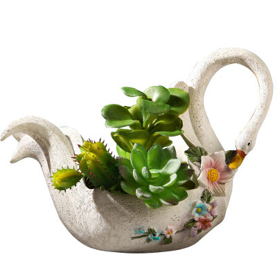 Beautiful White Swan Shape Succulent Plant Pot Modern Handmade Plant Container Swan Succulent Planter