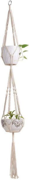 Pack of 2 Macrame Double Plant Hanger Indoor Outdoor 2 Tier Hanging Planter