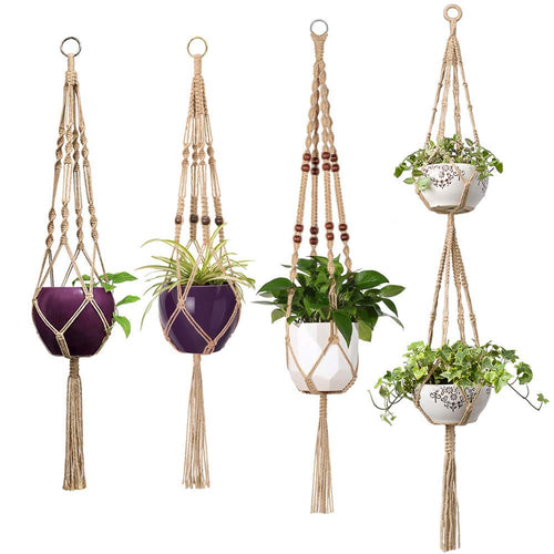 Pack of 4 Macrame Plant Hanger Indoor Outdoor Hanging Planter Basket Jute Rope