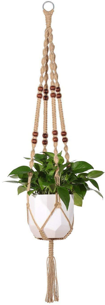 Macrame Plant Hanger Indoor Hanging Planter Basket Jute Rope With Beads