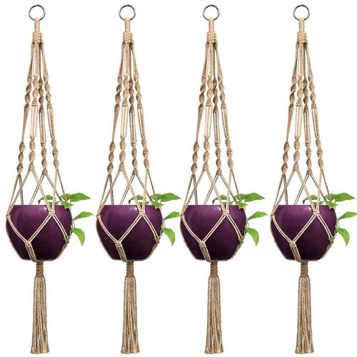 Pack of 4 Macrame Plant Hanger Indoor Outdoor Hanging Planter Basket