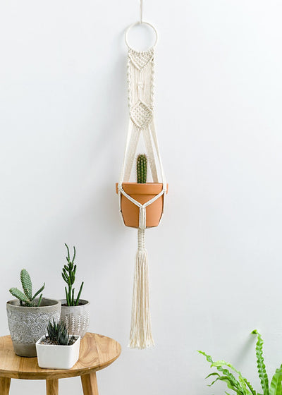 Set of 2 Macrame Plant Hangers Wall Hanging Plant Holder 40 inch