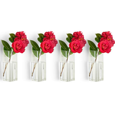 Pack of 4 Glass Vases Wall Hanging Planters Glass Plant Terrarium Wall Decors