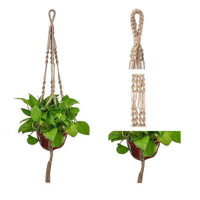 "Pack of 2 Vintage Plant Hanger Macrame Jute 4 Leg 40"" for Indoor Outdoor"