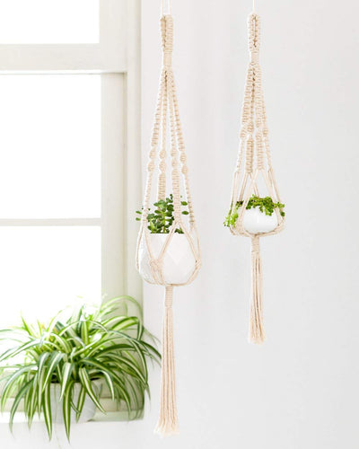 Pack of 2 Decorative Small Macrame Hanging Planter Macrame Hanging Basket