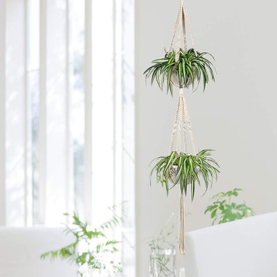 Pack of 3 Handmade Macrame Plant Hangers Hanging Planter Cotton Rope Home Decor