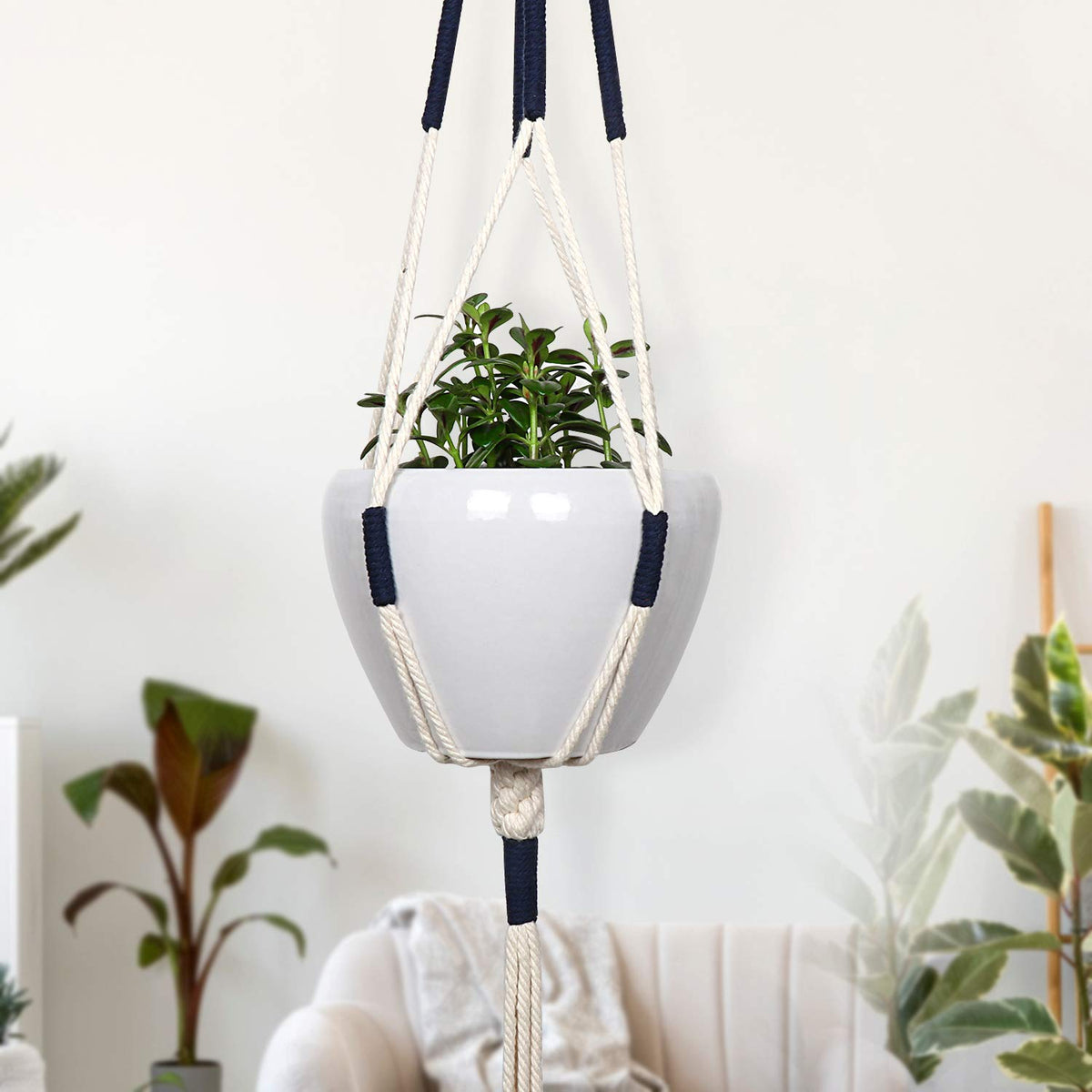 Set of 2 Macrame Plant Hangers  Hanging Planter Indoor Outdoor 41 Inch, Bohemian Decor