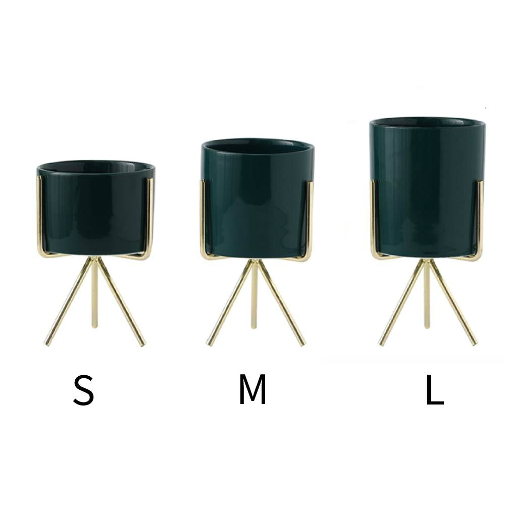 Modern Succulent Planter Pack of 3 Ceramics Container with Golden Iron Rack Modern Green Planters