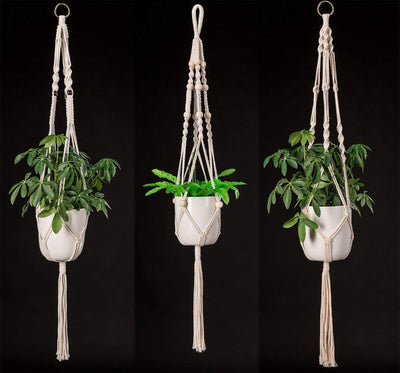 Pack of 4 Macrame Plant Hangers Handmade Hanging Planters