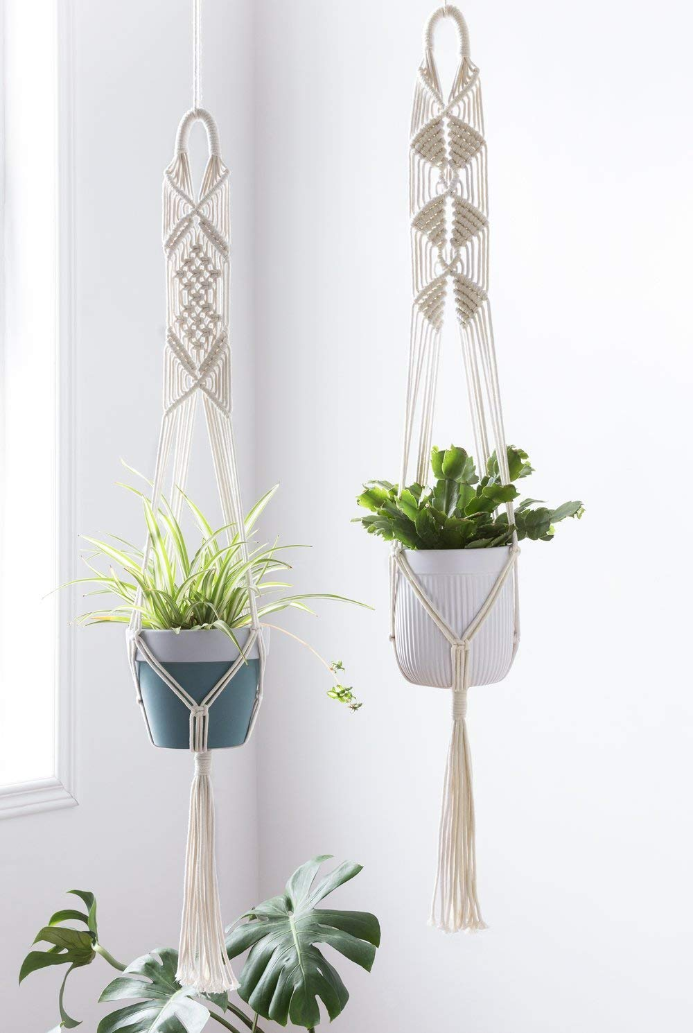 Set of 2 Macrame Plant Hanger Hanging Planter Wall Art, 41 inches