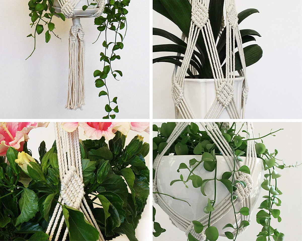 Handmade Macrame Plant Hanger from Natural Cotton Rope, 40 Inch