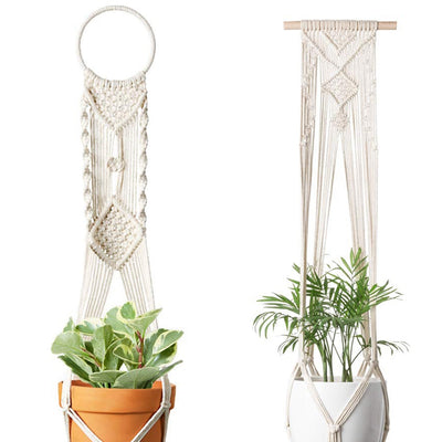 Set of 4 Macrame Plant Hangers Hanging Plant Shelf Indoor Wall Planter Decorative Flower Pot Holder