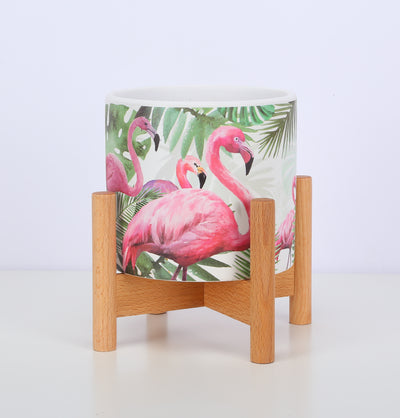 Ceramic Plant Pot Small Planter Flamingo Flower Pot with Wood Plant Stand