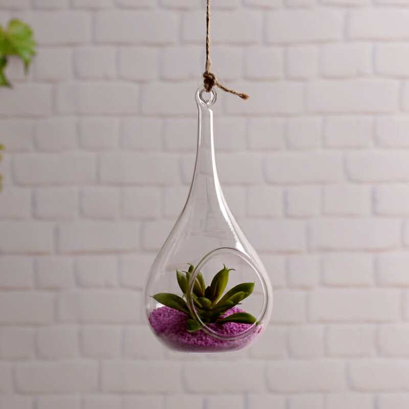 Pack of 2 indoor outdoor Glass Hanging Planters Hanging Air Plant Pots Hanging Terrariums