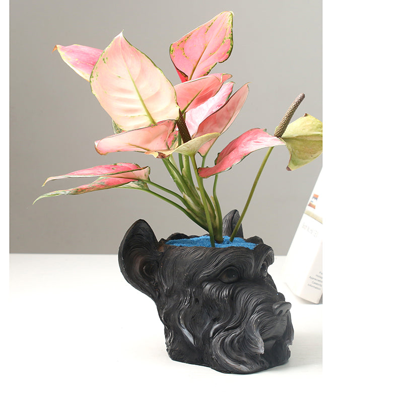 Black Dog Planter Cute Animal Shape Succulent Plant Pot Modern Handmade Plant Container Succulent Planter