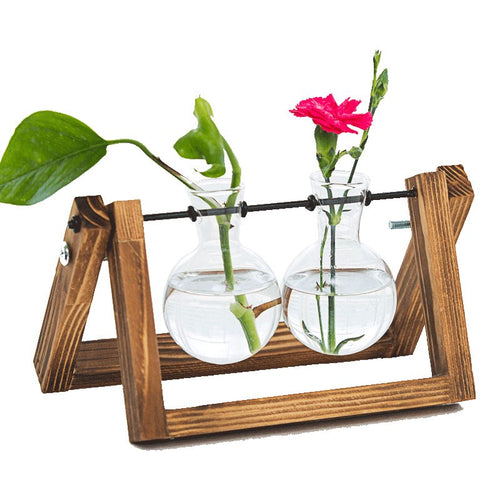 Desktop Plant Terrarium Glass Planter Bulb Vase with Retro Solid Wooden Stand