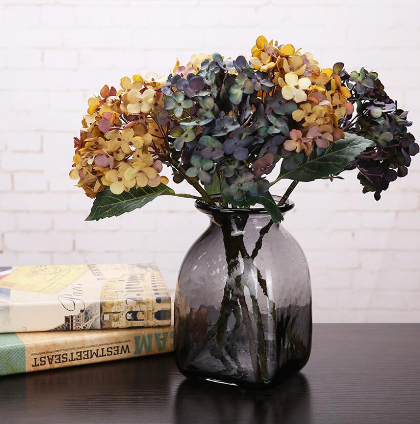 Tabletop Decorative Handmade Black Glass Geometrical Flower Vase Plant Pot