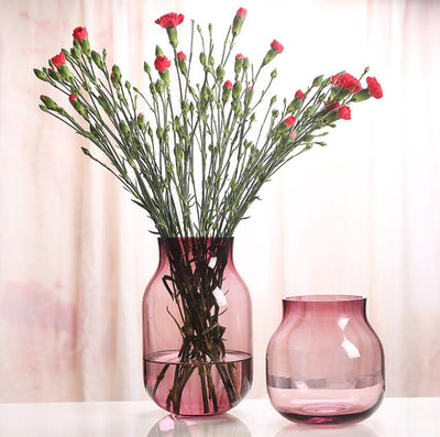 Tabletop Decorative Handmade Pink Glass Geometrical Flower Vase Plant Pot