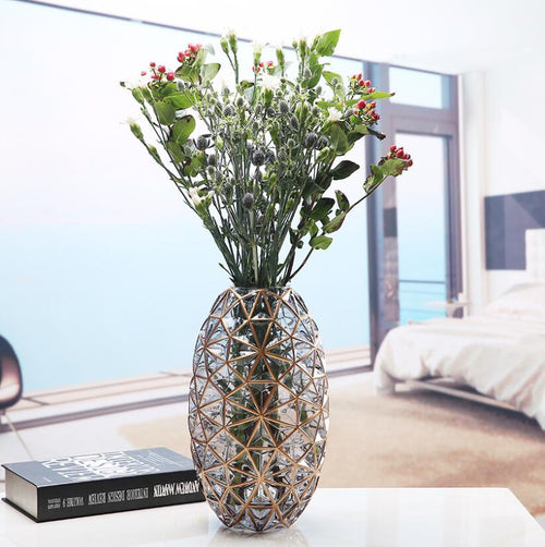 Tabletop Decorative Polishing Hand Blown Glass Flower Vase Plant Pot