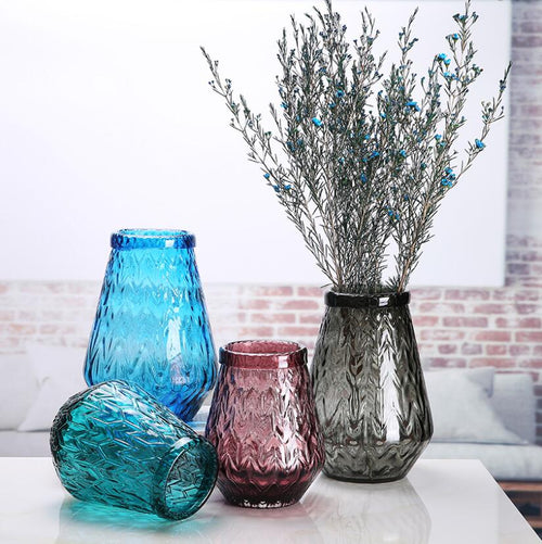 Tabletop Decorative Colored Glass Flower Vase Plant Pot