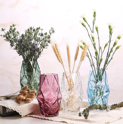 Tabletop Decorative Colored Glass Geometrical Flower Vase Plant Pot