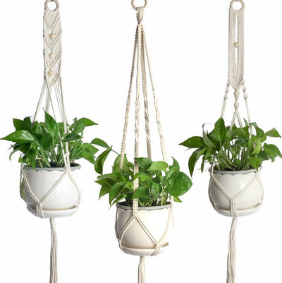 Set of 3 Macrame Plant Hanger Hanging Planter Basket Flower Pot Holder