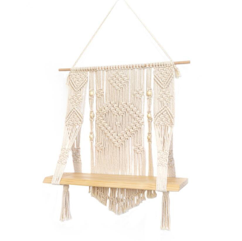 Macrame Wall Hanging Shelf Hand Woven Hanging Plant Holder