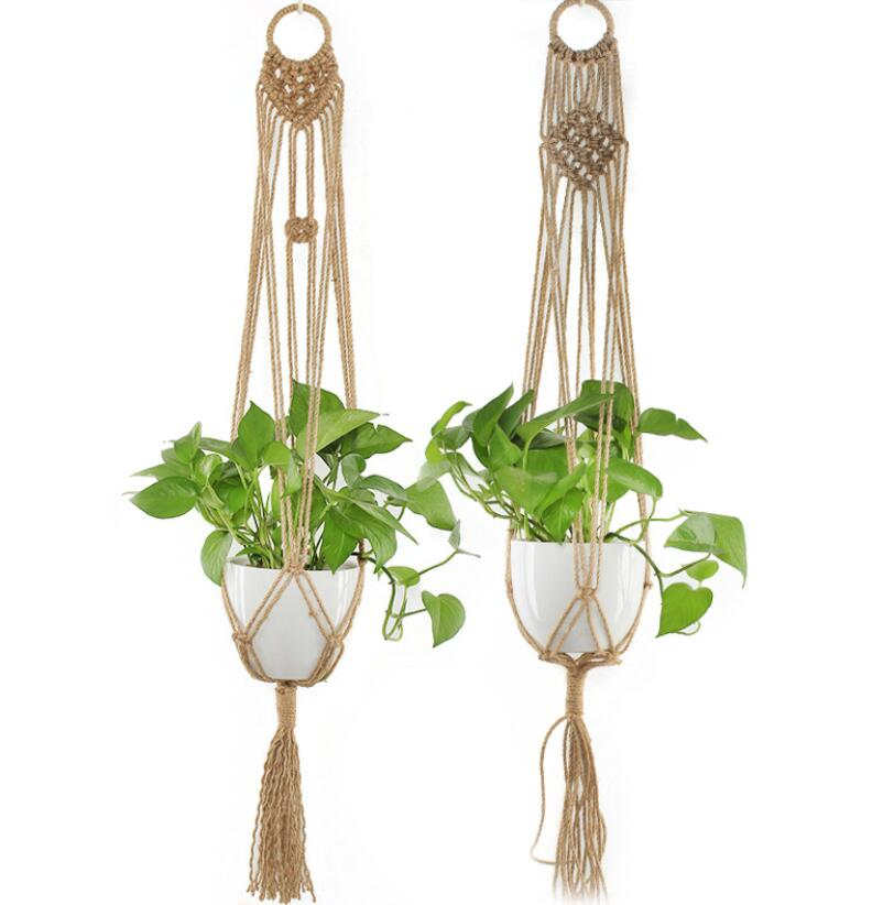 Set of 2 Hand Knitted Macrame Plant Hanger Macrame Hanging Planters