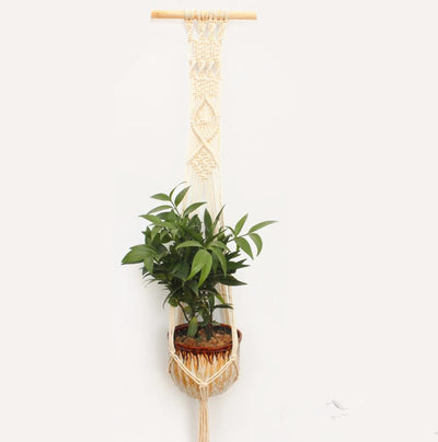 Hand Knitted Triple Macrame Plant Hangers Hanging Plant Containers