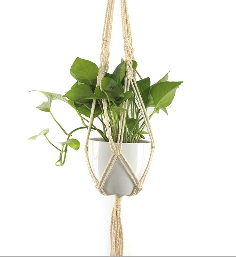 Indoor Outdoor Hand Knitted Macrame Plant Hanger Hanging Plant Basket