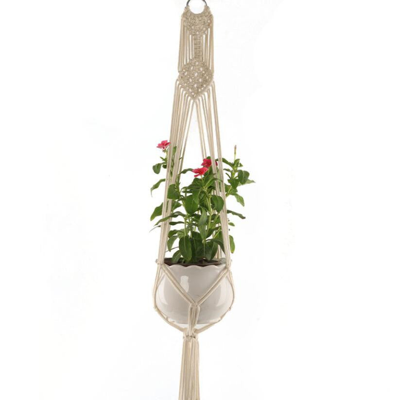 Indoor Outdoor 2-Tier Macrame Plant Hanger Hanging Plant Holder