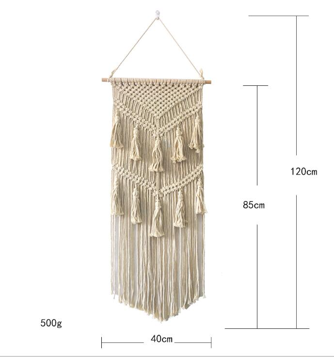Hand Woven Macrame Wall Hanging Handicraft Wall Decorative Tapestry with Tassels