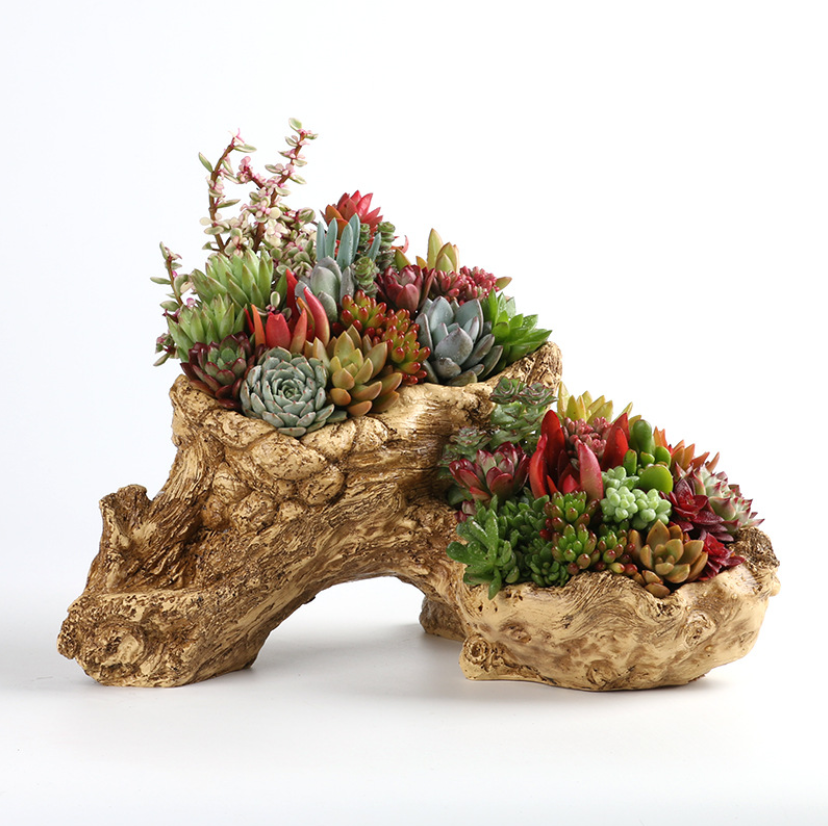 Irregular Stump Planter Driftwood Pot Faux Wood Planter Flower Pot Tree Root Cactus Log Container