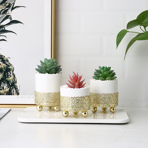 Golden Holder Succulent Planter Pack of 3 Gold Rack Cactus Container Planter Set Flower Pot Planters