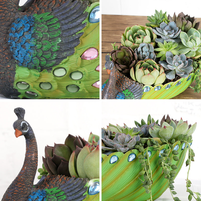 Exquisite Green Peacock Planter Vintage Cactus Container Succulent Planter Pot