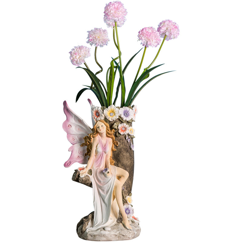 Fairy Girls Shape Sculptured Flower Vase Adorable Modern Home Decoration Vase Planter Container