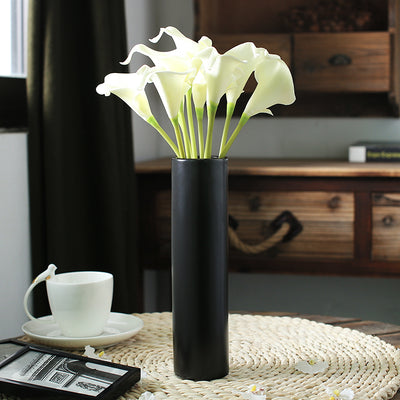 Tabletop Black Dull Polished  Ceramic Flower Vase