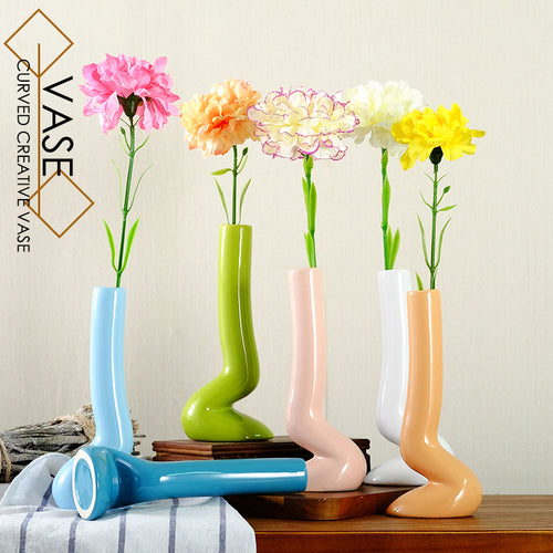 Tabletop Creative Curved Ceramic Flower Vase