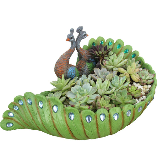 Peacock Shape Succulent Container Large Resin Planter Decorative Succulent Planter
