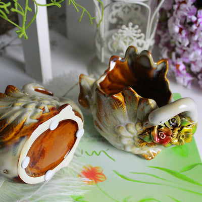 Cute Couple Swan Shape Ceramics Succulent Planter Pack of 2 Swan Succulent Planter