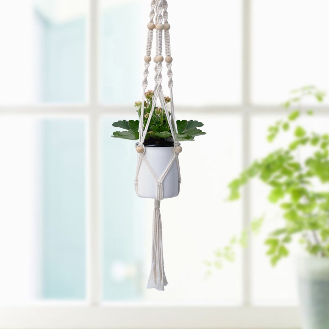 Set of 2 Macrame Plant Hanger Hanging Plant Pot Basket Macrame Hanging Planter