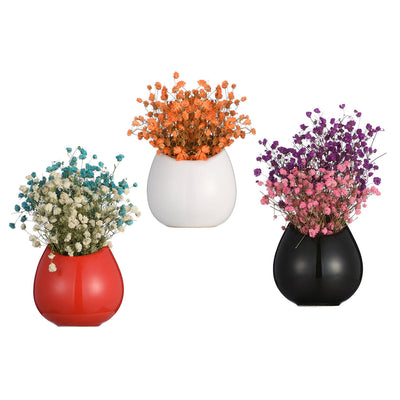 Set of 3 Red/Black/White Ceramic Wall Vase, Wall Mounted Ceramic Planter Pots