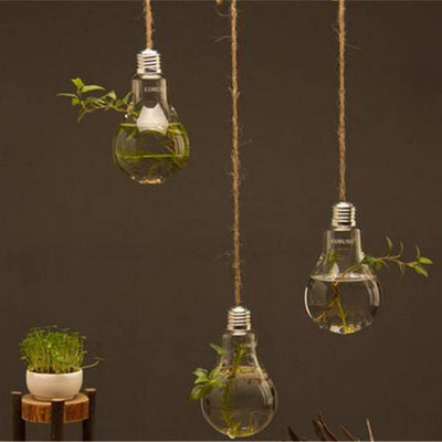 Pack of 3 Glass Hanging Planter Glass Bulb Planters For Home Decor