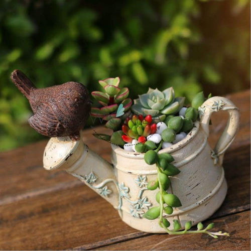 Lovely Bird Style Small Succulents Planter Three Colors Modern Cactus Container Indoor Planters &