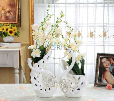 Loving Swan Couple Shape Sculptured Flowers Ceramic Vase Adorable Modern Home Decoration Planter
