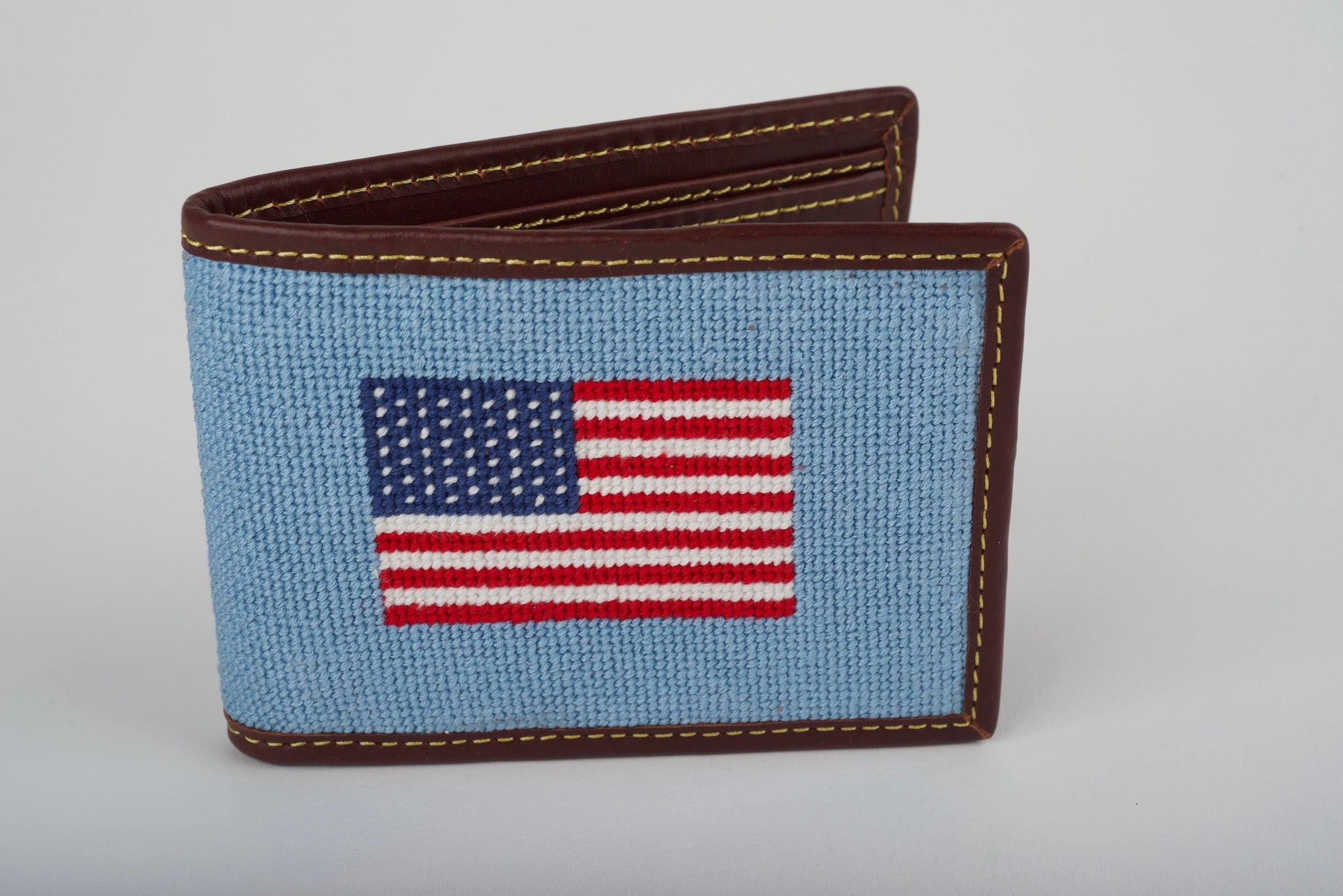 USA Light Blue Needlepoint Wallet