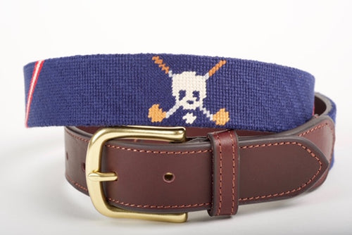 Jolly Golfer Navy Needlepoint Belt