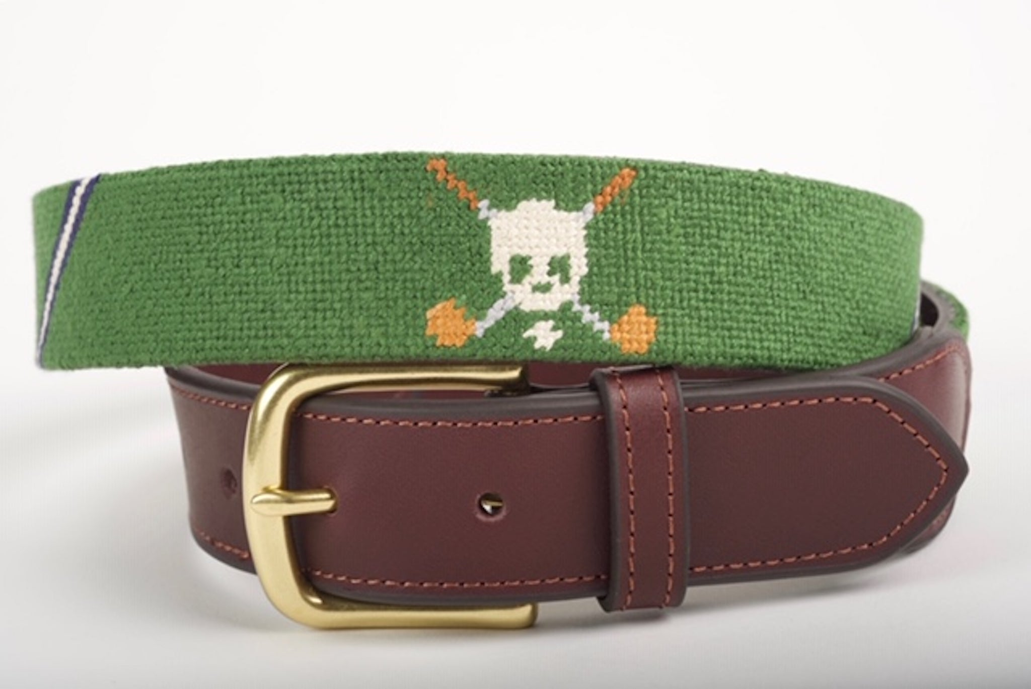 Jolly Golfer Forest Green Needlepoint Belt