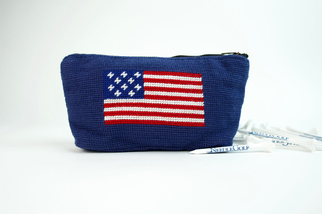 American Flag Navy Needlepoint Valuables Pouch
