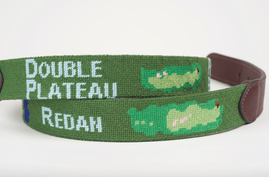 Template Hole Green Needlepoint Belt